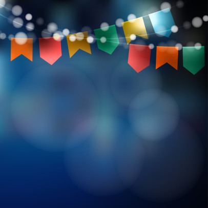 Brazilian june party. Festa junina. String of lights, party flags. Party decoration. Festive night,  blurred background. Stock vector illustration.